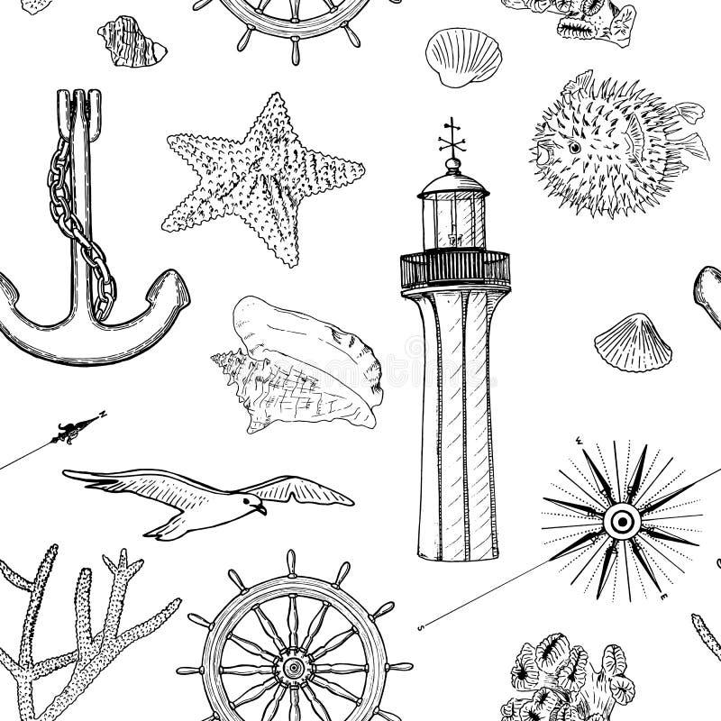 Morskiego bezszwowego wektoru wzoru sylwetki ustaleni nautyczni symbole Frajery, ster, kierownica, kotwica, lekki dom, skorupa ilustracji