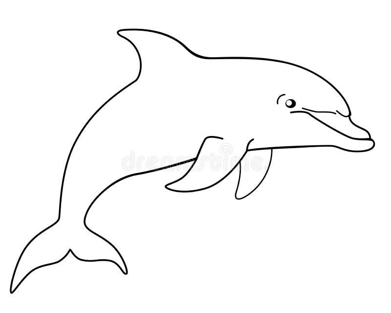 Morskiego ssaka delfin Śmieszny śliczny delfin skacze z wody Liniowy wektorowy wizerunek dla ilustracji