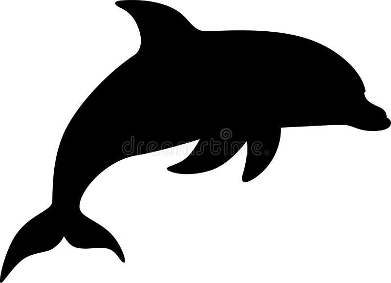 Morskiego ssaka delfin Śmieszny śliczny delfin skacze z wody Sylwetka wektor ilustracji