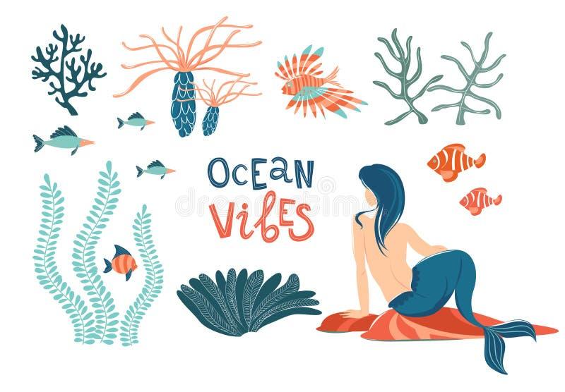 Morskiego syrenki życia wektoru płaski set Oceanów klimatów pisać list ilustracja wektor