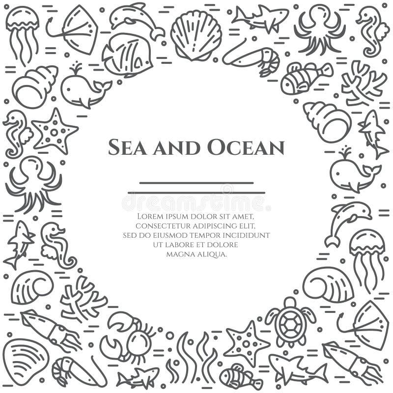 Morskiego tematu czarny i biały sztandar Piktogramy ryba, skorupa, krab, rekin, delfin, żółw i inne denne istoty, ilustracji