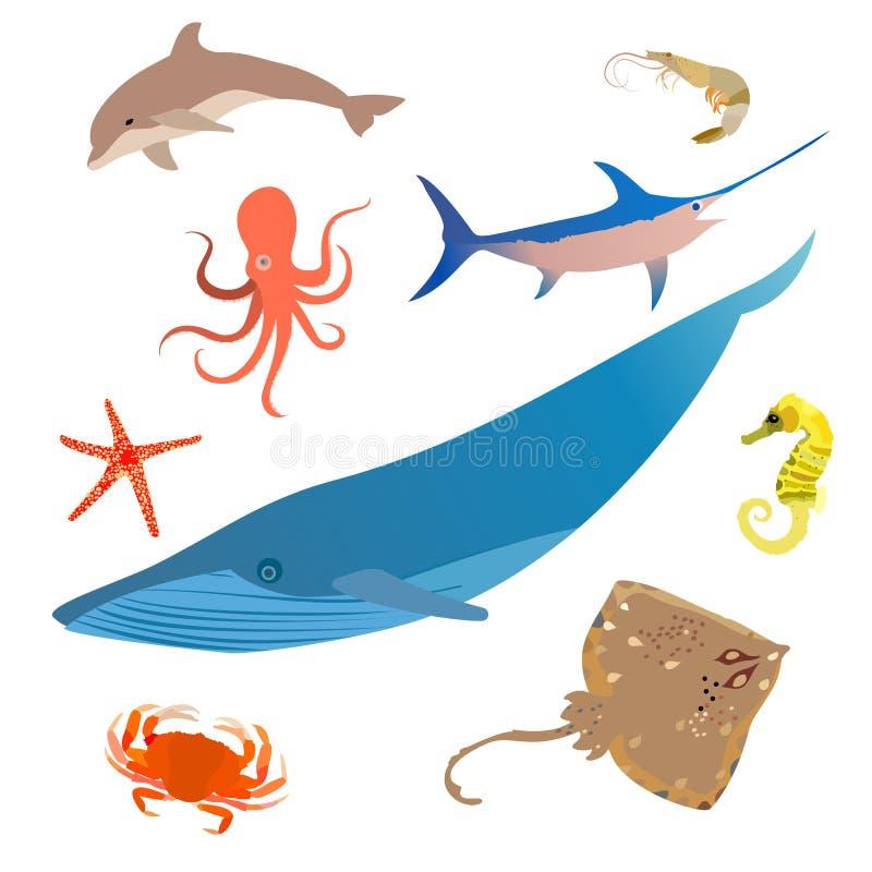 Morskiej ryby ikony set Oceanów zwierząt podwodny charakter wektor ilustracji