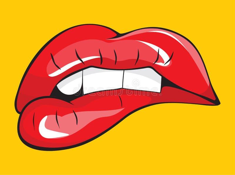 Morso dei suoi denti rossi delle labbra royalty illustrazione gratis