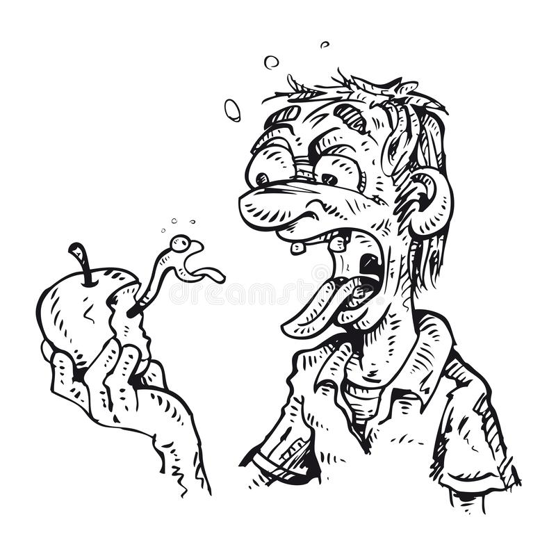 Morsures d'homme une pomme illustration stock