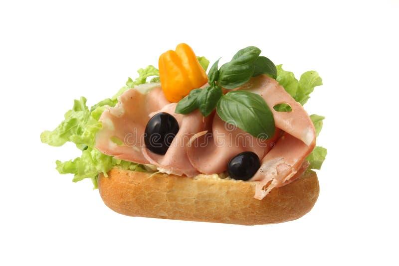 mortadellasmörgås royaltyfria bilder