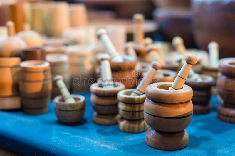 Mortai di legno fatti a mano immagini stock libere da diritti
