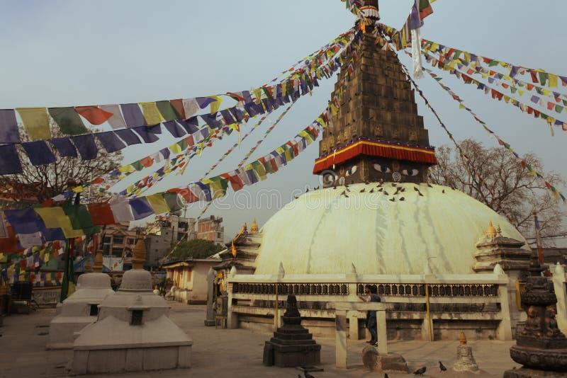 Mortaio buddista a Kathmandu, Nepal fotografia stock libera da diritti