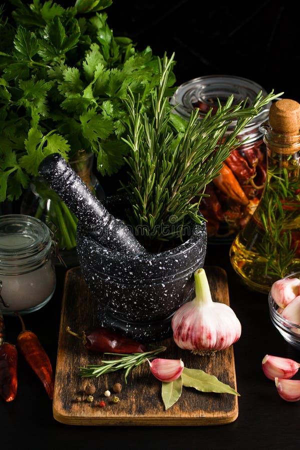 Mortaio e pestelli di marmo con l'aglio ed il pepe dei rosmarini fotografia stock libera da diritti