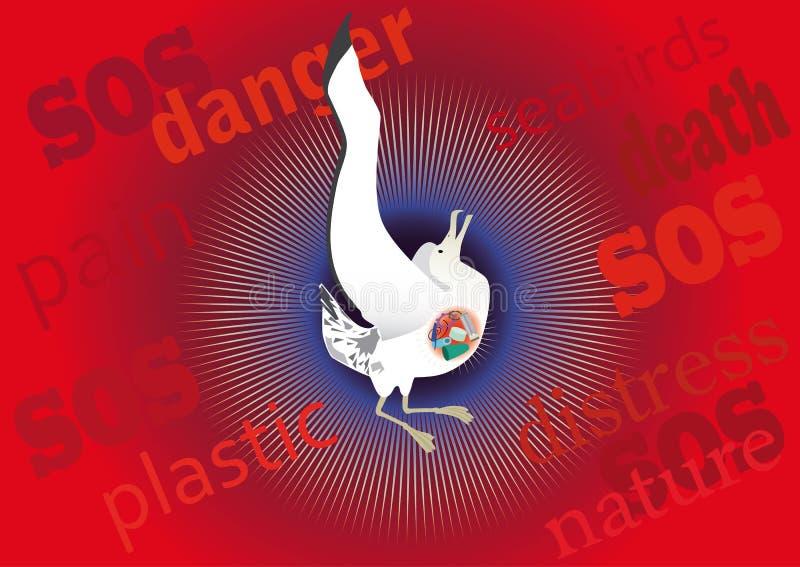 Mortalità dell'uccello marino da plastica illustrazione vettoriale