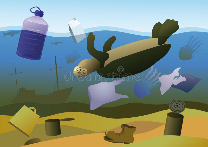 Mortalities of marine animals vector illustration