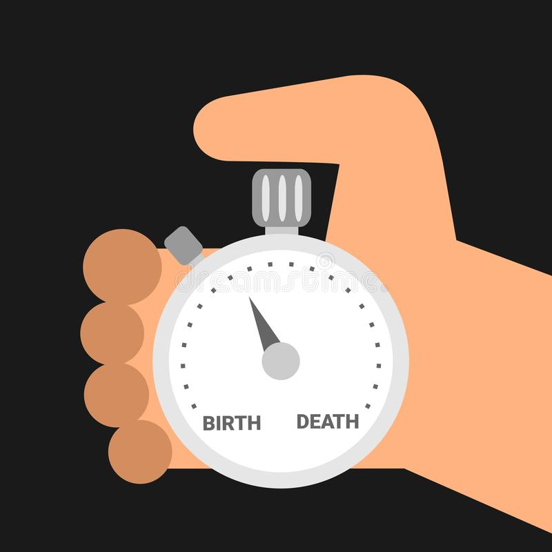 Mortality - mortal person is holding stopwatch vector illustration