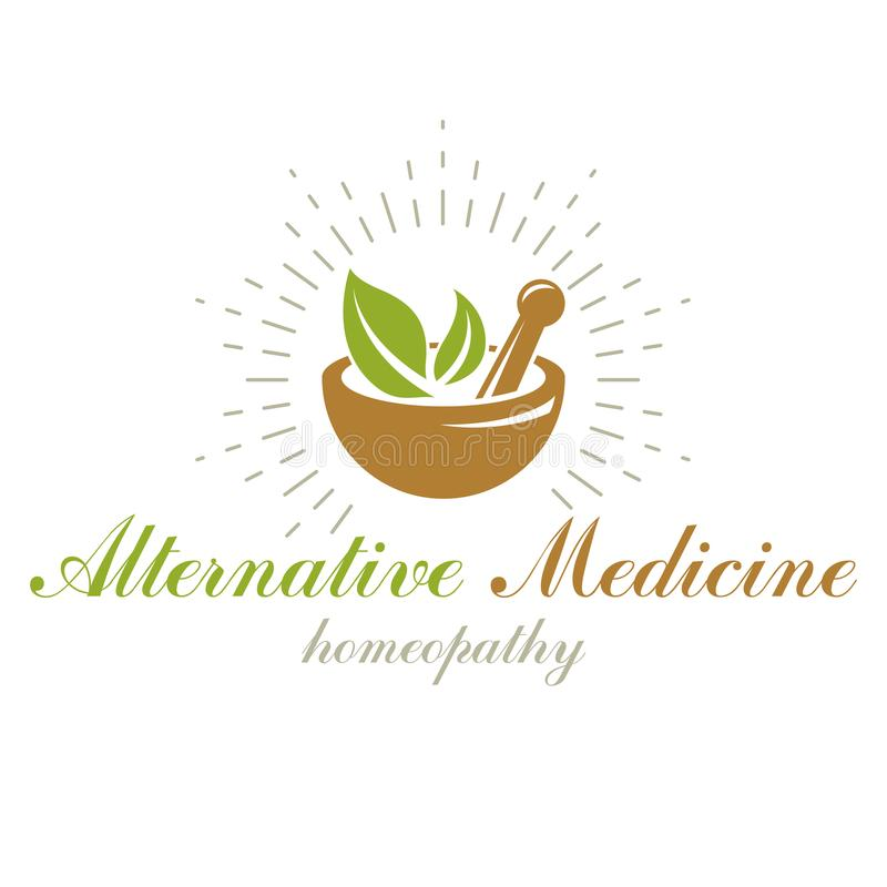 Free Mortar And Pestle Graphic Vector Symbol Composed With Green Leaves. Homeopathy Creative Logo For Use In Medicine, Rehabilitation Royalty Free Stock Image - 114554616