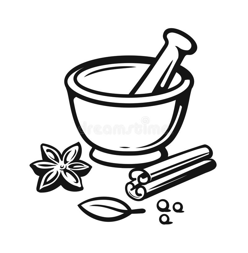 Free Mortar And Pestle With Spices Outline Style. Royalty Free Stock Photography - 113377077
