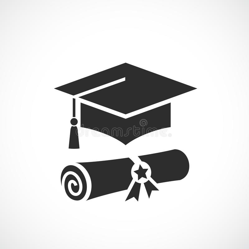 Mortarboard and academic diploma vector icon. Mortar board and academic diploma vector icon stock illustration