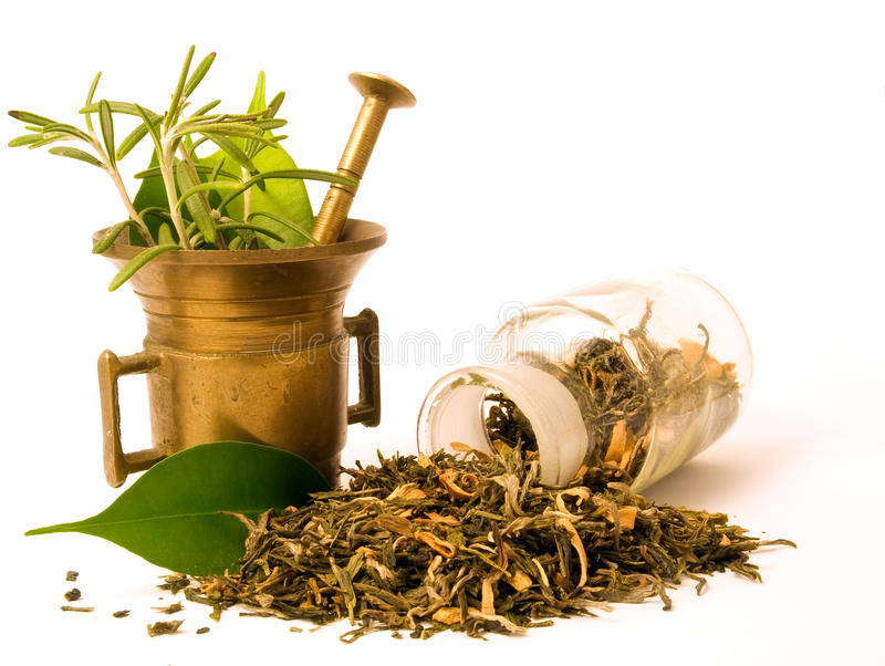 Mortar and bottle, with herbal. royalty free stock images