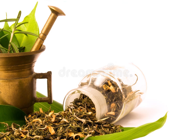 Mortar and bottle, with herbal. royalty free stock photo