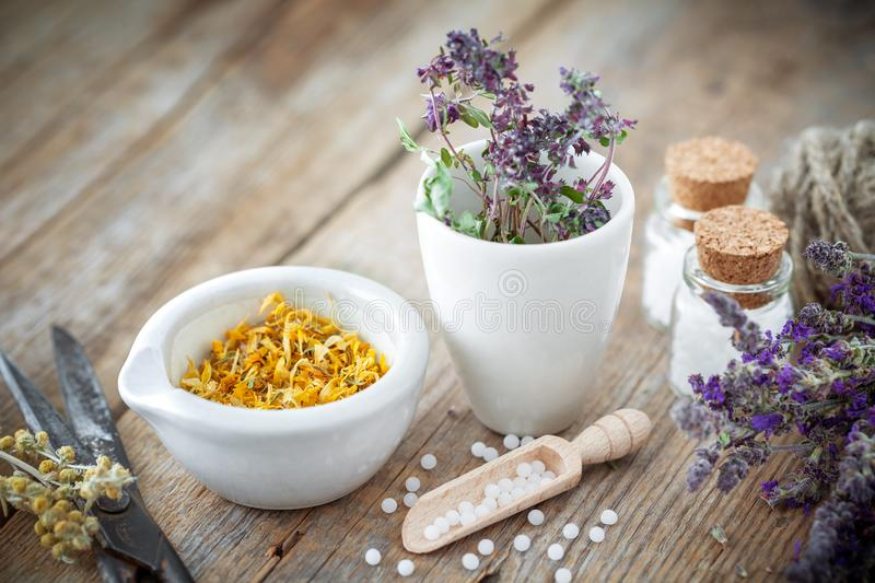 Mortar and bowl of dried healing herbs and bottles of homeopathic globules. stock image