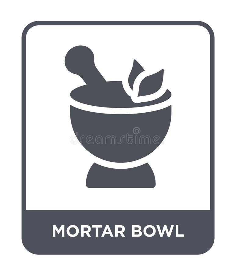 mortar bowl icon in trendy design style. mortar bowl icon isolated on white background. mortar bowl vector icon simple and modern vector illustration