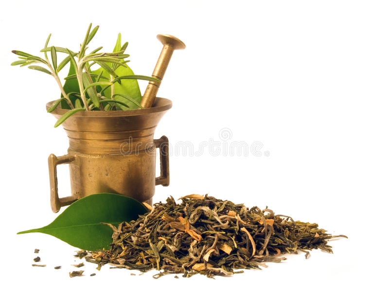Mortar with herbal. royalty free stock images