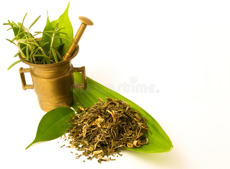 Mortar with herbal. stock photography