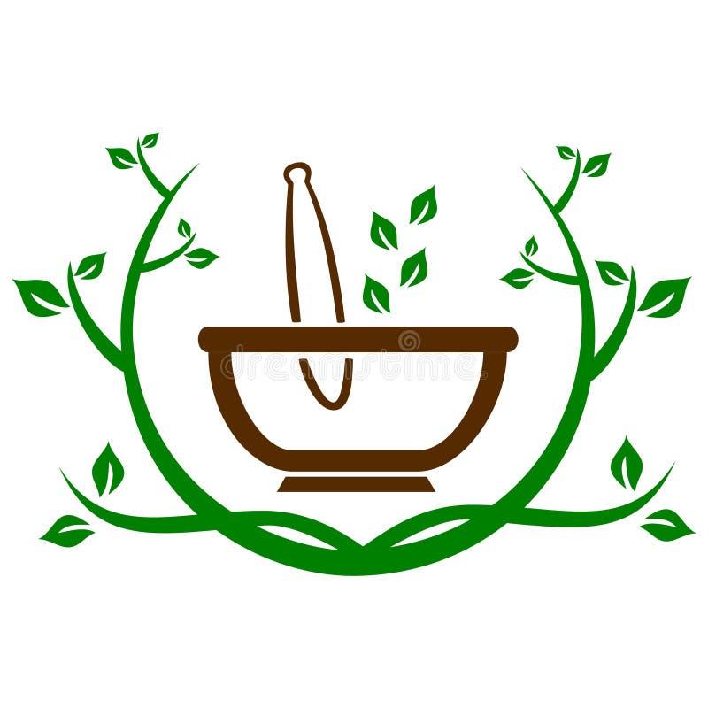 Mortar herbal leaves vector illustration