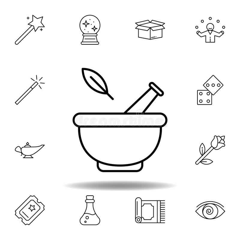 Mortar, magic, medical outline icon. elements of magic illustration line icon. signs, symbols can be used for web, logo, mobile. App, UI, UX on white background vector illustration