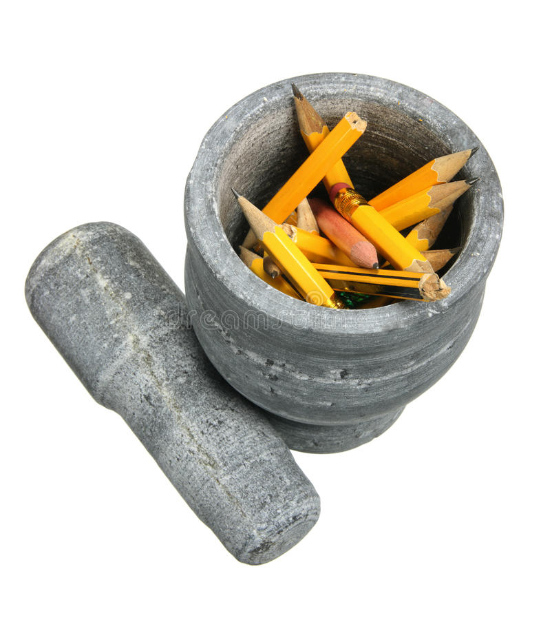 Mortar with Pencils royalty free stock image