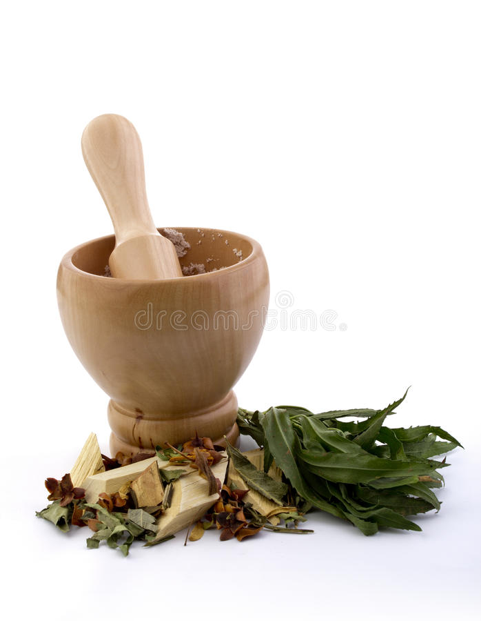 Download Mortar With Pestle And Herbs Stock Photo - Image of aroma, cooking: 28392722