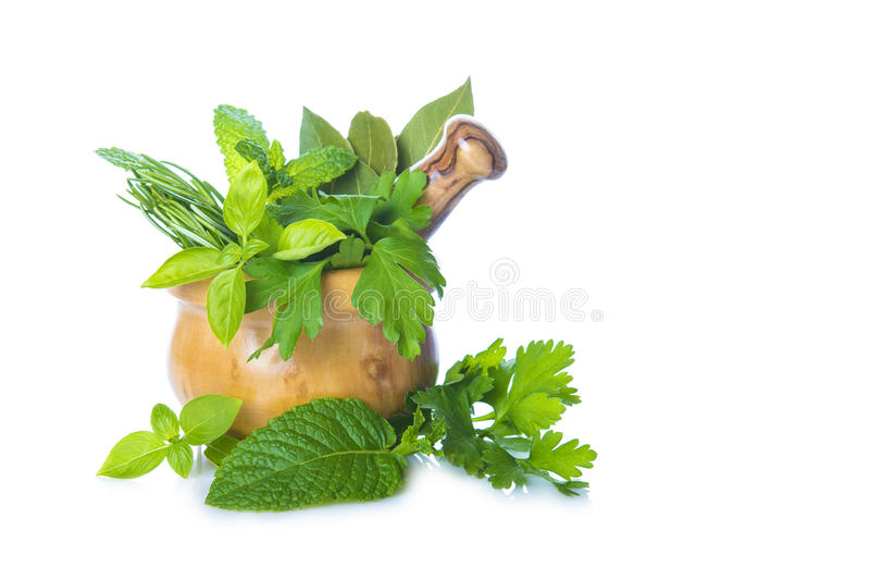 Mortar and pestle with herbs isolated on white stock photography