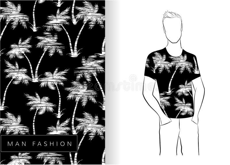 Palm trees seamless pattern white on black t-shirt stock illustration