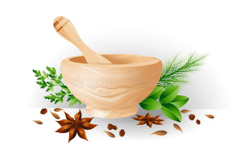 Mortar and pestle, herbs and spices vector illustration