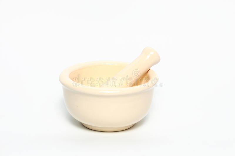 Mortar and pestle of pharmacy isolated on white background stock images