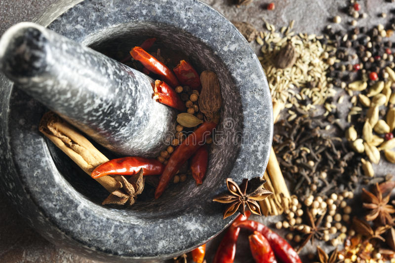 Mortar and Pestle with Spices stock photo