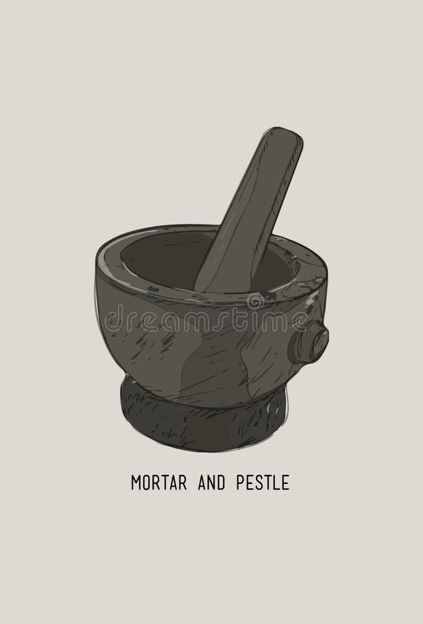 Mortar and pestle in a wreath of spices and herbs, hand-drawn vector illustration royalty free illustration