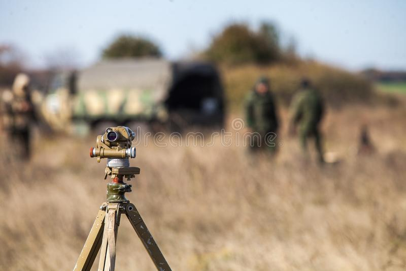 Mortar sights with at the military trainings. Military trainings in the field royalty free stock photography