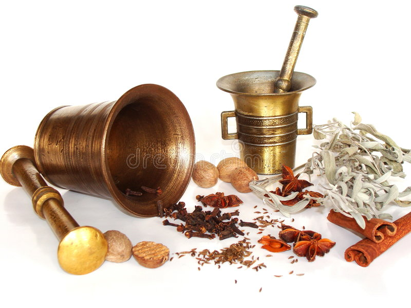 Mortar with spices royalty free stock photo