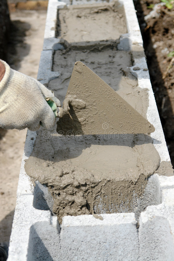 Mortar spread royalty free stock image