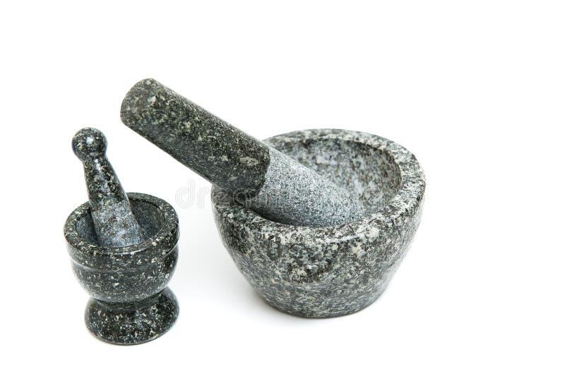 Mortar stone stock image