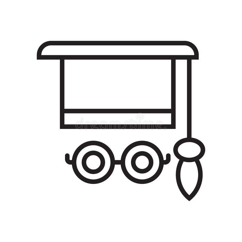 Mortarboard σημάδι και σύμβολο εικονιδίων διανυσματικό που απομονώνονται στο άσπρο υπόβαθρο, έννοια λογότυπων Mortarboard διανυσματική απεικόνιση