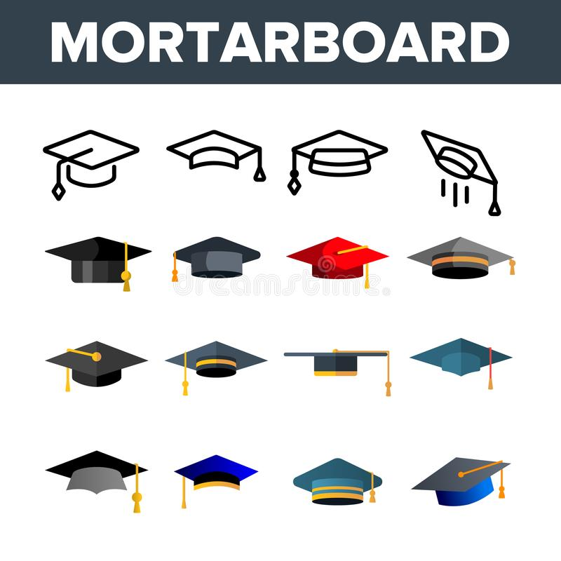 Mortarboard, Academic Cap Vector Color Icons Set vector illustration