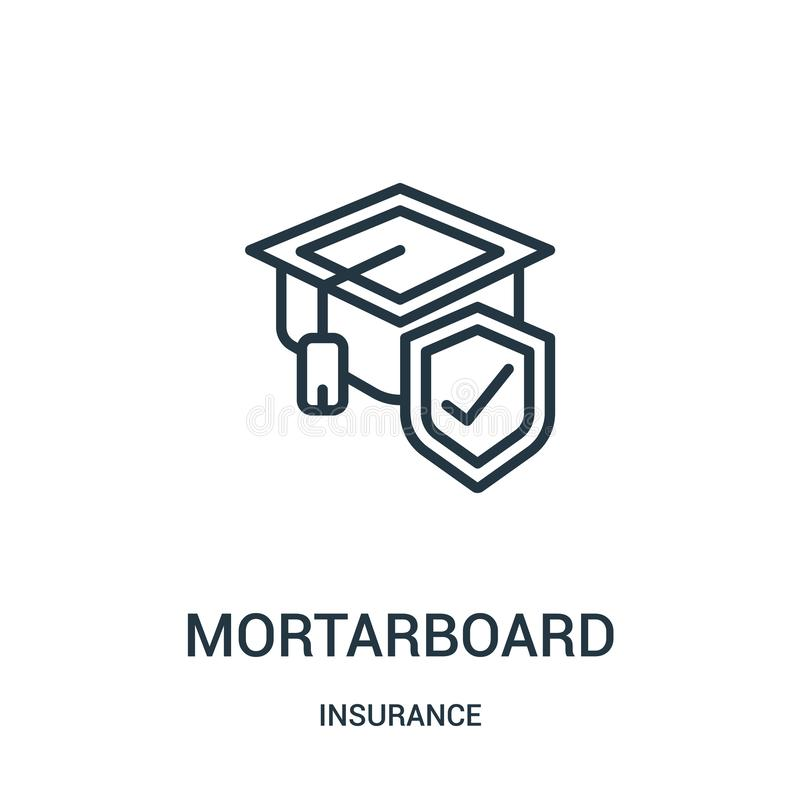 mortarboard icon vector from insurance collection. Thin line mortarboard outline icon vector illustration. Linear symbol royalty free illustration