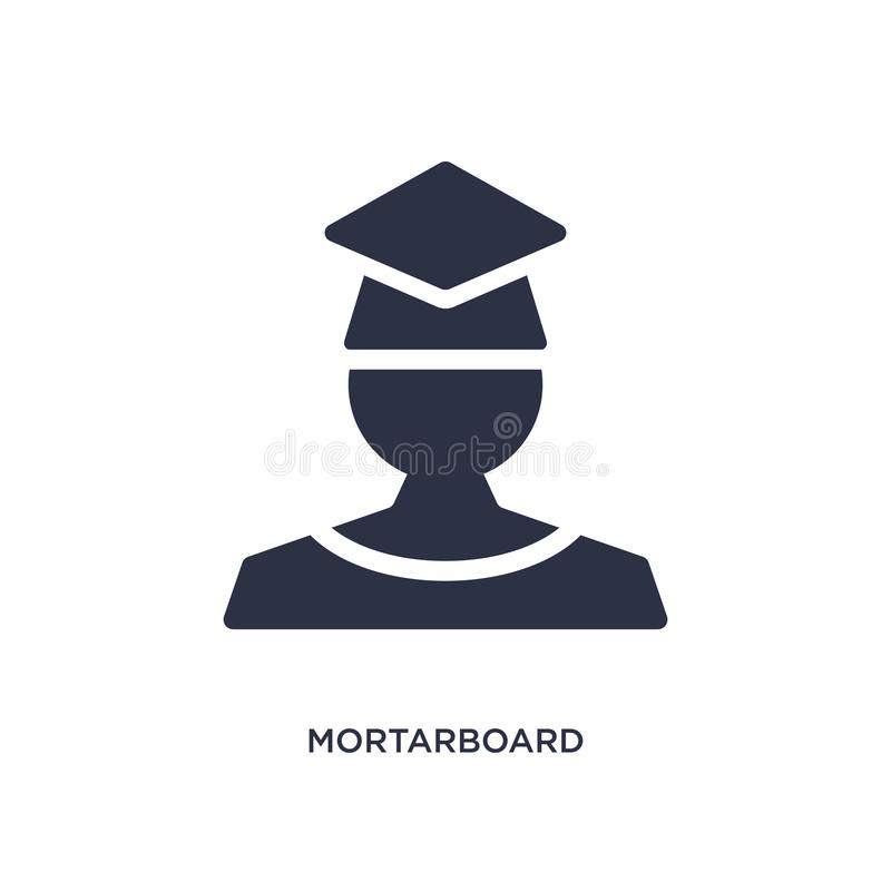 mortarboard icon on white background. Simple element illustration from education 2 concept royalty free illustration
