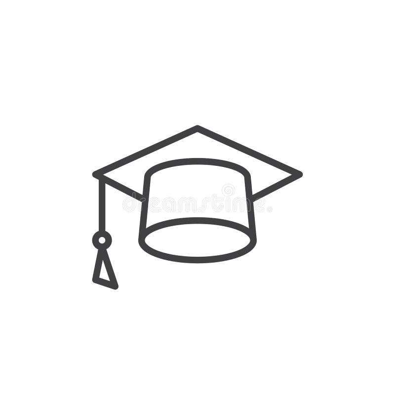 Mortarboard kreskowa ikona, Kwadratowy akademicki nakrętka konturu wektoru znak, liniowy stylowy piktogram odizolowywający na bie ilustracja wektor