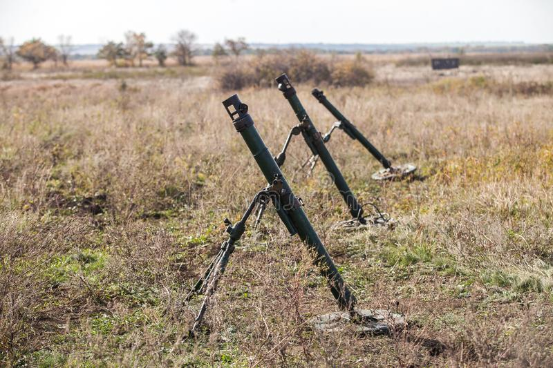 Mortars on military trainings. Military trainings in the field royalty free stock photography