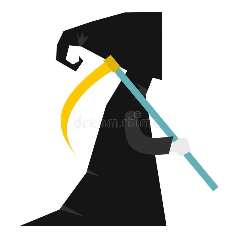 Morte com ícone da foice, estilo liso ilustração stock