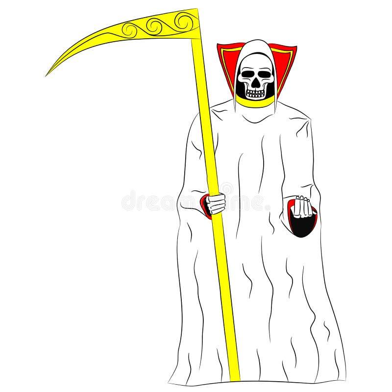 Morte com uma foice em suas mãos no fundo branco ilustração do vetor