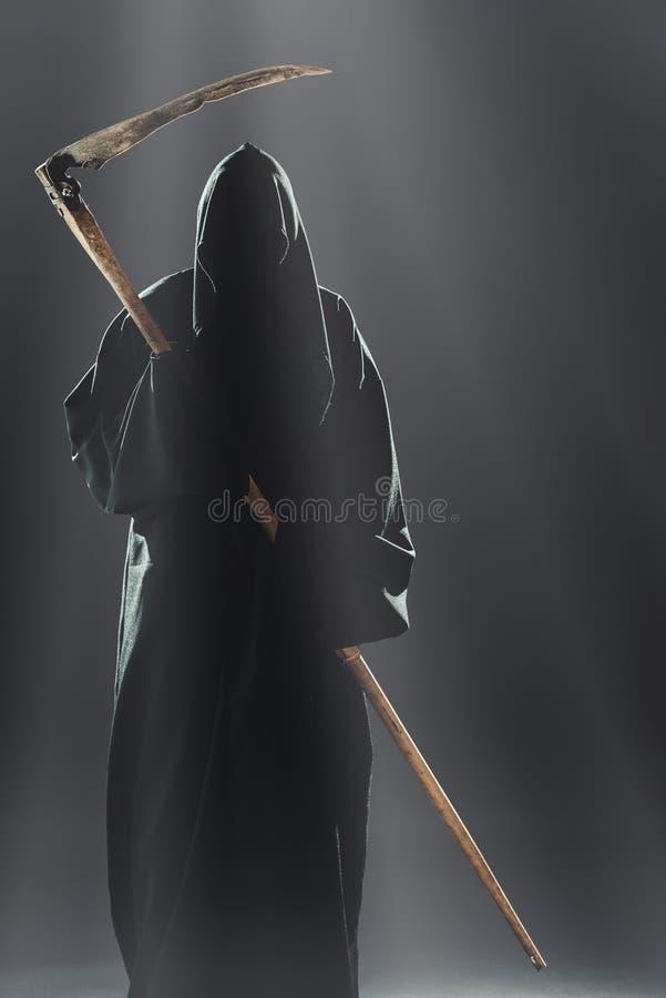 Morte con la falce che sta nella nebbia fotografie stock