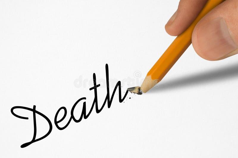 Morte da palavra e lápis quebrado fotografia de stock