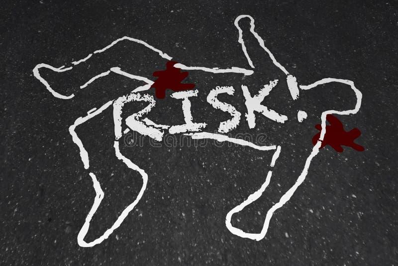 Morte perigosa de ferimento do perigo do esboço do giz do risco ilustração do vetor
