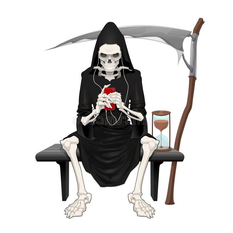 A morte que senta-se em um banco. ilustração do vetor